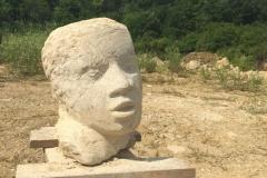 Kopf, Thüster Kalkstein 30x25x25cm